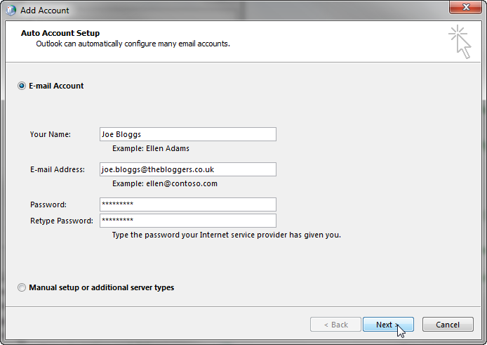 Windows add email account setup