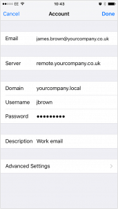 iphone email exchange settings